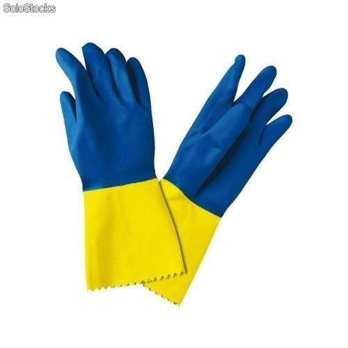 Guantes látex diamante flocado bicolor